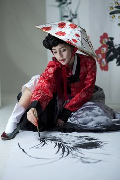 Painting Orchid / South Korea This is sightnifical pose for sitting with very interesting hat of Korea's women !!
