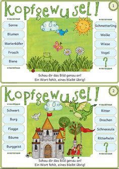 I have created this file specifically for a child who needs exactly such exercises and motivated (I hope) will tackle: The 20 index cards contain in the middle each zusammengewür Languages Online, Foreign Languages, Reading Pictures, Math For Kids, Home Schooling, Educational Technology, Speech Therapy, Teaching Kids, Social Studies