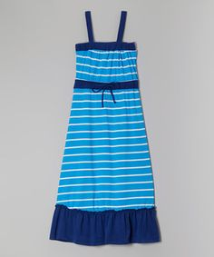 This Blue & Black Stripe Maxi Dress - Girls by Chillipop is perfect! #zulilyfinds