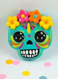 Sugar Skull Magnet by MyMayanColors on Etsy