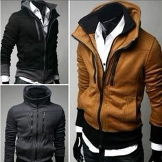 New Mens Fashion Slim Fit Sexy Top Designed Hoodies Jackets Coats 3Color  4Size 6a4898efa16