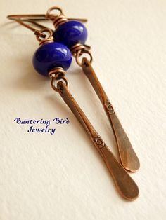 Royal Blue Lampwork Glass Earrings, Lapis Blue Stick Earrings, Sticks and Stones Series, Long Minimalist Earrings, Modern Copper Jewelry