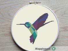 cross stitch pattern hummingbird, geometric hummingbird, modern cross stitch, nature, bird, PDF, ** instant download** by Happinesst on Etsy