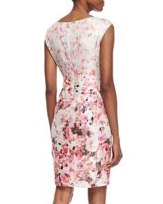 Floral Printed Metallic Sheath Dress