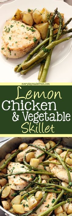 Need a quick and easy dinner recipe? One that has meat, vegetable, and starch? This Lemon Chicken & Vegetable Skillet is the answer! | EverydayMadeFresh.com http://www.everydaymadefresh.com/lemon-chicken-vegetable-skillet/
