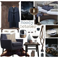 Moody October by ladomna on Polyvore featuring interior, interiors, interior design, home, home decor, interior decorating, Universal Lighting and Decor, Barclay Butera, Dot & Bo and Mad et Len