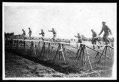 Portuguese soldiers on an obstacle course at the Infantry Training School WWI