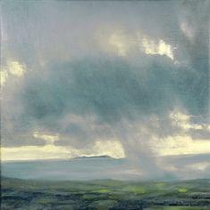Morning Light by John O'Grady - Atmospheric Irish seascape painting with a blue-grey sea, a pale morning light, lush green fields and large rain clouds #irishart #seascape #clouds #rainyday #oiloncanvas #art #artcontemporain