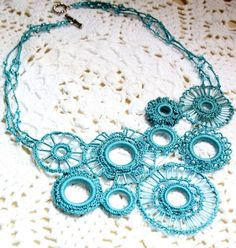 $40 Turquoise crocheted necklace by KnotTherapy on Etsy