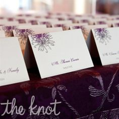 Real Weddings - A Contemporary Casual Wedding in Chicago, IL - Purple Floral Escort Cards