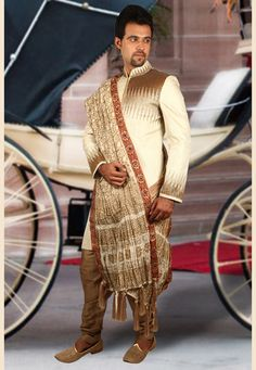 Buy Cream Brocade Readymade Indo Western Sherwani 204354 online at lowest price from our mens wear collection at Indianclothstore.com. Western Union Money Transfer, Wedding Sherwani, How To Dye Fabric, Color Shades, Lehenga Choli, Snug, Westerns, Menswear, Cream