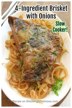 4-ingredient Slow Cooker Beef Brisket with Onions is the easiest, simplest, comfort food. It's hard to beat meltingly tender brisket with onions and garlic. Click on the photo to get right to the recipe on ShockinglyDelicious.com Slow Cooker Brisket, Best Slow Cooker, Slow Cooker Recipes, Beef Recipes, Crockpot Meals, Yummy Recipes, Yummy Food, Food Dishes, Main Dishes
