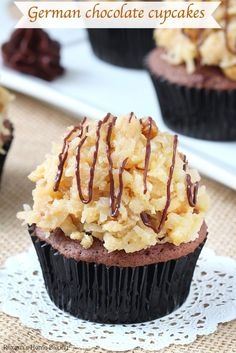 A secret ingredient makes these german chocolate cupcakes so unbelievable light, moist and tender. Topped with a generous amount of sticky sweet coconut pecan frosting, these are the best german chocolate cupcakes I've tried!