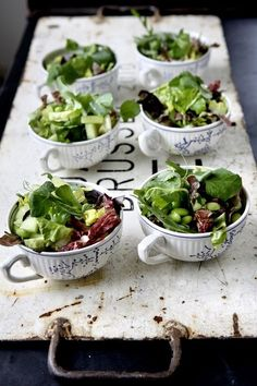 individual cups of salad. There is no recipe here. Just use your imagination. Whip up a Caesar salad and find those tea cups you have always had but never used…and your guests will be wowed.