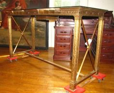 ANTIQUE CAST BRONZE BANK TABLE W GLASS TOP: this would make the coolist desk