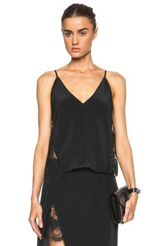 Image 1 of Mason by Michelle Mason Lace Cami Silk Top in Black