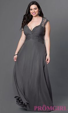 V-Neck Long Chiffon Plus Prom Dress at PromGirl.com