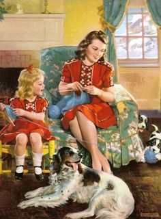 Reminds me of me and Melissa when she was little - but no dogs. Someday this will be Melissa and her own daughter - AND the dogs!