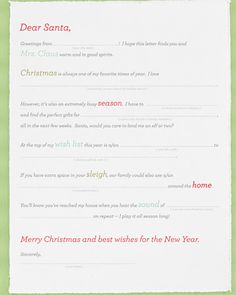 """~~~Santa Letter From an Adult ~~~  Christmas isn't just for kids. Santa always leaves something special for well-behaved grown-ups when he makes his annual visit! Don't leave him guessing at your desires; send him a letter, or leave it out for one of his """"helpers"""" to find.  Print the Letter From an Adult"""