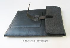 iPad cases iPad 2 cases iPad 3 cases iPad covers iPad 2 covers iPad 3 covers iPad 1 sleeves iPad 2 sleeves iPad 3 sleeves - Navy blue leather grey felt with outside pocket