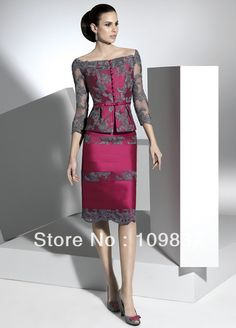 2014 Wholesale Burgundy Taffeta And Lace Knee-length Sheath With 3/4 Lace Jacket Elegant Tall Mother Of The Bride Suits