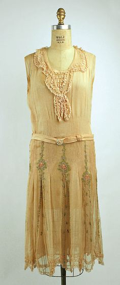 Silk and cotton ribbon embroidered afternoon dress 1928-29