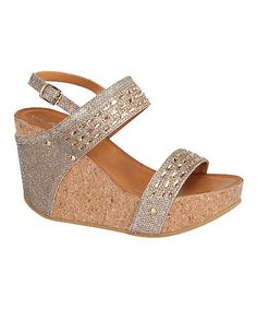 Champagne Embellished Maya Wedge by Step Up Shoes #zulily #zulilyfinds