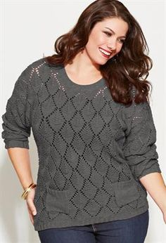 Plus Size Cableknit Pullover Sweater with Scarf | Plus Size ...