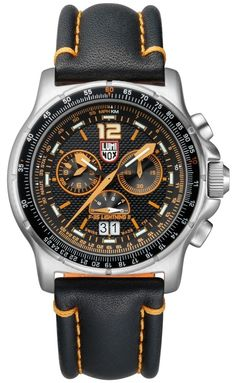 Stainless steel case with a stainless steel bracelet. Uni-directional rotating stainless steel bezel. Black and orange dial with luminous hands and index hour markers. Arabic numeral marks the 12 o'cl