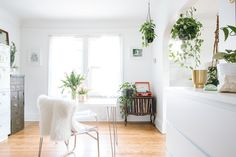 House Tour: An Industrial Modern Apartment in Michigan Apartment Living, Apartment Therapy, Multipurpose Guest Room, Clear Chairs, Paper Clutter, Living Spaces, Living Room, Modern Industrial, House Tours