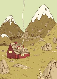 Trail of smoke very important. Besides the contrast of the red house against green hills, the smoke leads the eye down through the tall mountains and to the house. Aprender e inspirarse en los cómics de Hilda, de Luke Pearson – Cómics Pretty Art, Cute Art, Posca Art, Poses References, Environment Concept Art, Art Graphique, Fan Art, Aesthetic Art, Landscape Art