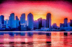 San Diego Skyline Colorful Urban Art by Priya Ghose