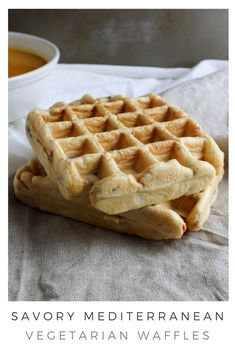 I came up with this recipe because I needed something quick and easy to have with my soup. I believe it is also perfect for someone looking for savory breakfast ideas! So, there you have it: savory vegetarian Mediterranean waffles you can have with your soup or for breakfast! Or however you want, have them for dessert, I won't judge you! #savorywaffles #savorybreakfast #vegetarianrecipe Savory Waffles, Savory Breakfast, Breakfast Ideas, Waffle Iron, Waffle Recipes, Vegetarian Recipes, Soup, Stuffed Peppers, Dessert