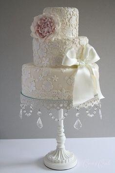 image of Fondant Wedding Cakes ♥ Vintage Wedding Cake White Wedding Cakes, Beautiful Wedding Cakes, Gorgeous Cakes, Pretty Cakes, Magical Wedding, Amazing Cakes, Torte Rose, Cotton And Crumbs, Vintage Lace Weddings