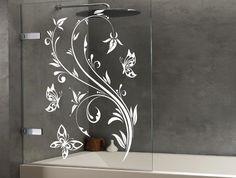 Floral Design Butterflies. Shower ScreenShower DoorDoor StickersAdhesive ...