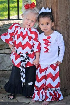 ChevronRed Chevron Pant Set with Ruffle front Tee by FrillsNFluff, $45.00