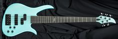 Carvin Guitars B25S, blue mist metallic (BM), clear satin finish (CS), black chrome hardware (BC), split coil pickup (SCP), abalone logo (ABL)