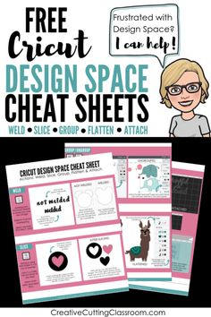Frustrated with Cricut Design Space? I can help! Grab these free Cricut Design Space cheat sheets! Learn the five actions of Cricut Design Space: weld, slice, group, flatten and attach. How To Use Cricut, Cricut Help, Cricut Air 2, Cricut Vinyl, Buy Vinyl, Cricut Mat, Cricut Cuttlebug, Cricut Fonts, Cricut Cartridges