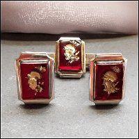 Vintage Cufflinks w Tie Clasp Red Glass Warriors 1950s Mens Jewelry