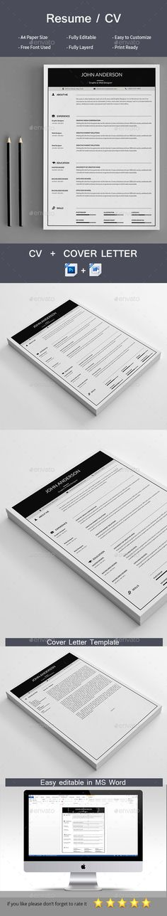Resume Creative, Professional resume and Modern resume template - easy simple resume template