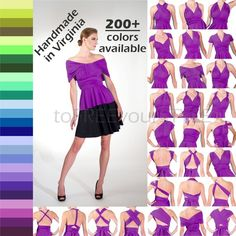 HANDMADE Infinity Top, FULL style, 200+ colors, Any Size & Length, multiway top, convertible top, bl Infinity Clothing, Infinity Dress, Convertible Clothing, Convertible Dress, Bridesmaid Separates, Bridesmaid Dresses, Skirt Fashion, Fashion Dresses, Shirt Extender