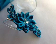 Hair Clip Baby Blue Light Blue White Silver by LihiniCreations