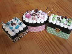 3 new wooden boxes I made painted with acrylics, decorated with silicone and polymer clay