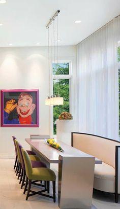 Salas de Jantar alegres = quadros na parede