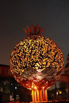 The Great Fire Ball Sculpture Of China Glowing   by Aragorn BVI