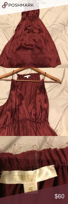 Beautiful maroon silk dress. V neck top with string. Also waist has string belt which ties in the back. 100% silk. matty m Dresses Midi