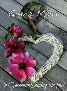 Lekker Dag, Evening Greetings, Goeie More, Living Water, Happy Sunday, Grapevine Wreath, Daisy, Afrikaans Quotes, Tuesday
