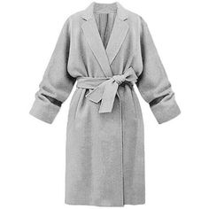 Yoins Yoins Grey Lapel Collar Trench Coat (84 AUD) ❤ liked on Polyvore featuring outerwear, coats, coats & jackets, grey, gray coat, lapel coat, grey trench coat, long sleeve coat and grey coat