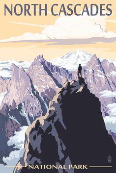Amazon.com - North Cascades National Park, Washington - Mountain Peaks (16x24 Giclee Gallery Print, Wall Decor Travel Poster) -