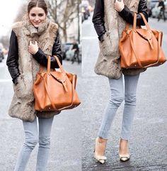 Love the orange bag! Orange Bag, Balenciaga City Bag, Rebecca Minkoff, Fur, Shoulder Bag, Bags, Fashion, Orange Purse, Handbags